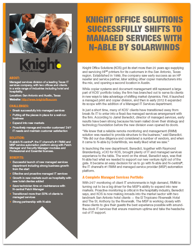 Knight Office Solutions Successfully Shifts to Managed